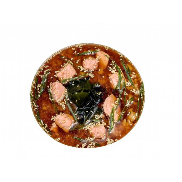 Суп з лососем (склад: лосось, рис, вакаме, цибуля ...